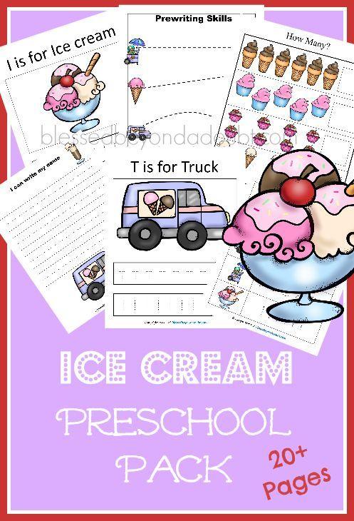 FREE Ice Cream Preschool Pack. July is national Ice Cream month!