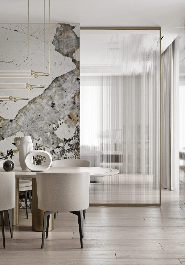 Magnificent Modern Marble Interior With Metallic Accents Marble Interior Modern Interior Design Modern Interior