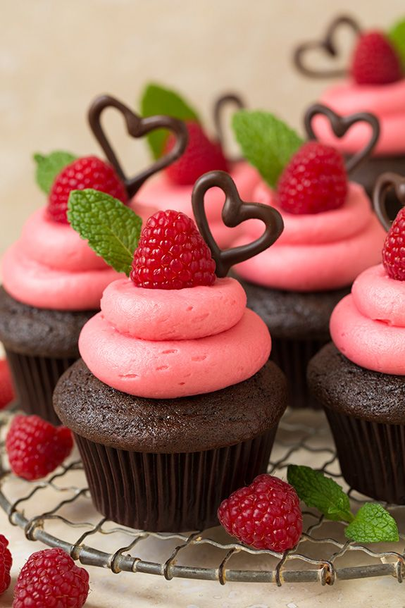 Dark Chocolate Cupcakes with Raspberry Buttercream Frosting