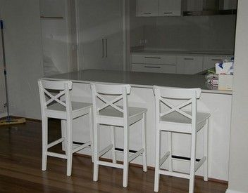 Bar stools & tables: INGOLF Bar stool with backrest, white