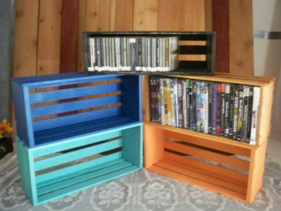2 Dvd Crates Each Crate Holds 27 Dvds Crates Wood Crate Shelving For Dvd Dvd Storage Crate Wood Crate Centerpiece Crate Shelves Wall Mounted Storage Shelves Diy Wall Shelves