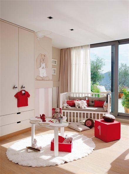 beige y roja con armario dm