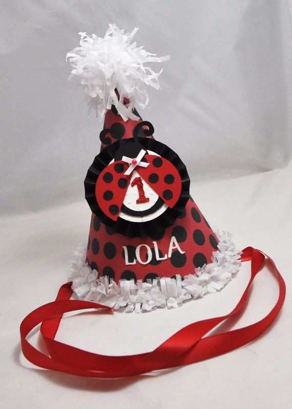 Ladybug 1st Birthday Party Hat Girl by CardsandMoorebyTerri, $15.00