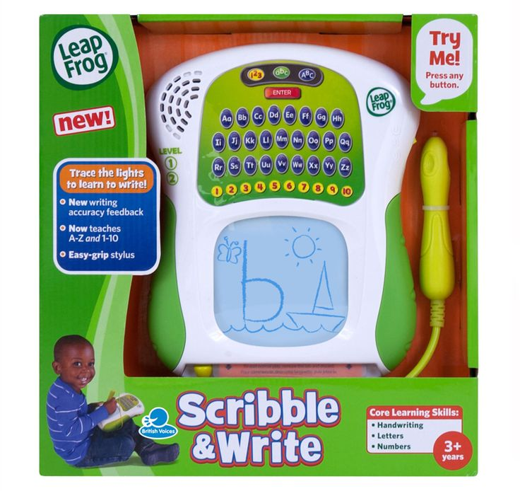 LEAPFROG - SCRIBBLE AND WRITE PAD. This device helps kids learn to write letters through teaching proper stroke order and by traceable letters onscreen! Verbal feedback and the ability to try again helps the learning process!