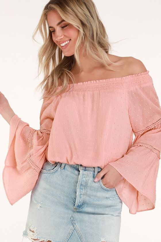 19330d6fa435 Lulus   Sunny Story Blush Pink Lace Bell Sleeve Off-the-Shoulder Top ...