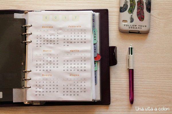 Calendario 2017 annuale per agenda A5 e Personal, UNO PER OGNI ATTIVITA', SCADENZE, COMPLEANNI...O SULLO STESSO CON COLORI DIVERSI? MI CI VORREBBE ENORME!