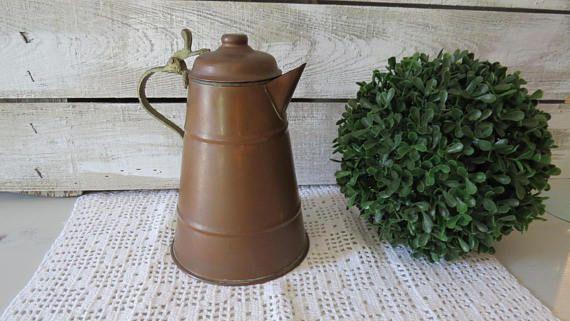 Antigua olla de cobre cafetera de cobre