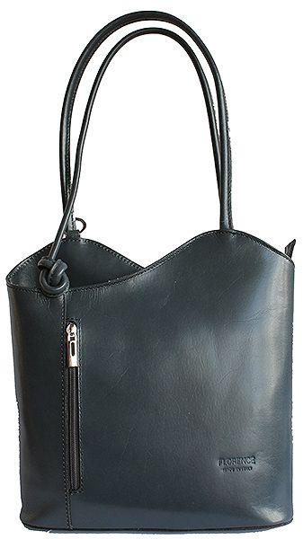 Multi-Way Dark Grey Leather Shoulder Bag/Backpack