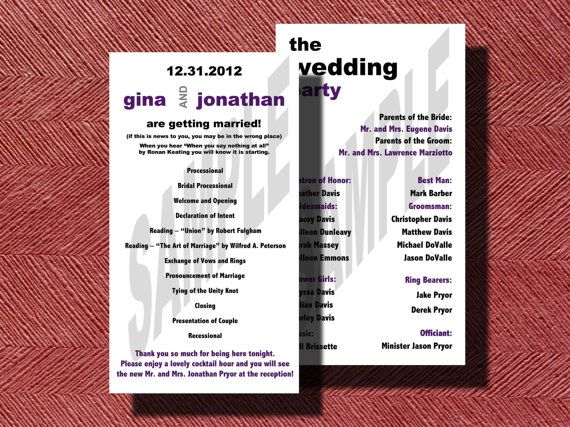 Modern Double Sided #Wedding Program by WeddingsByJamie on Etsy, $25.00