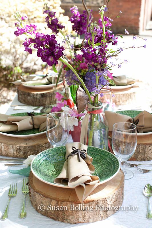 "Wedding Reception Ideas - Love the wood ""chargers""  for the plates- Both romantic and rustic!"