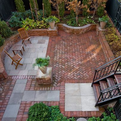 for the herringbone brick inside and outside.  also for the concrete path from driveway to front porch.  frame it in brick as shown in this image.  Herringbone Brick Patio Design Ideas, Pictures, Remodel, and Decor