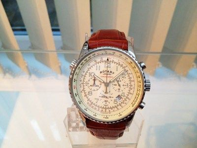Rotary Men's Watch Cream face/ Brown Leather /Chronograph Watch /Boxed on eBay!