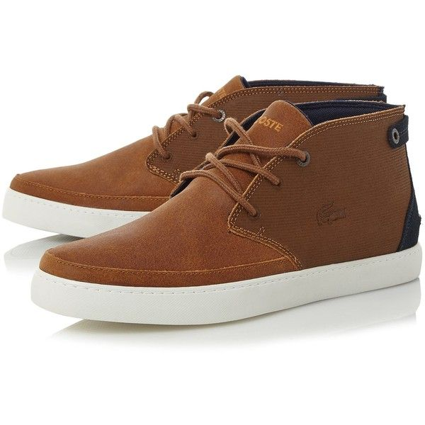 Lacoste Clavel Cupsole Chukka Boots ($71) ❤ liked on Polyvore featuring men's fashion, men's shoes, men's boots, mens lace up shoes, mens chukka shoes, mens chukka boots, mens suede lace up boots and lacoste mens shoes