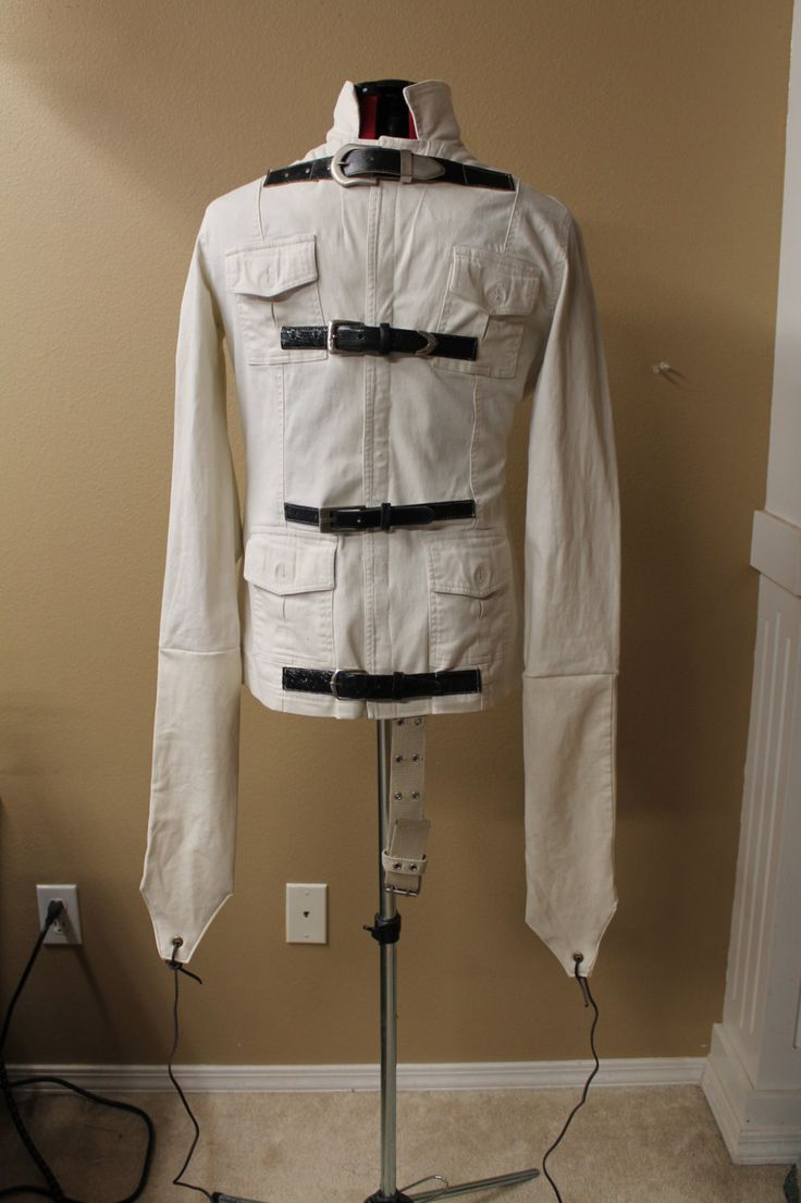 Straight jacket, Halloween prop, insane asylum, costume, restraint, haunt, strait jacket by DaFabricAteHer on Etsy