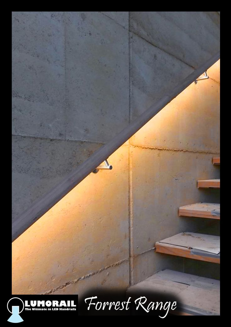 This stunning Forrest Range LED Illuminated handrail, in natural timber, highlights this rammed earth wall beautifully. Featuring our patented hollow bracket adapter system. See www.lumorail.com.au for more info.