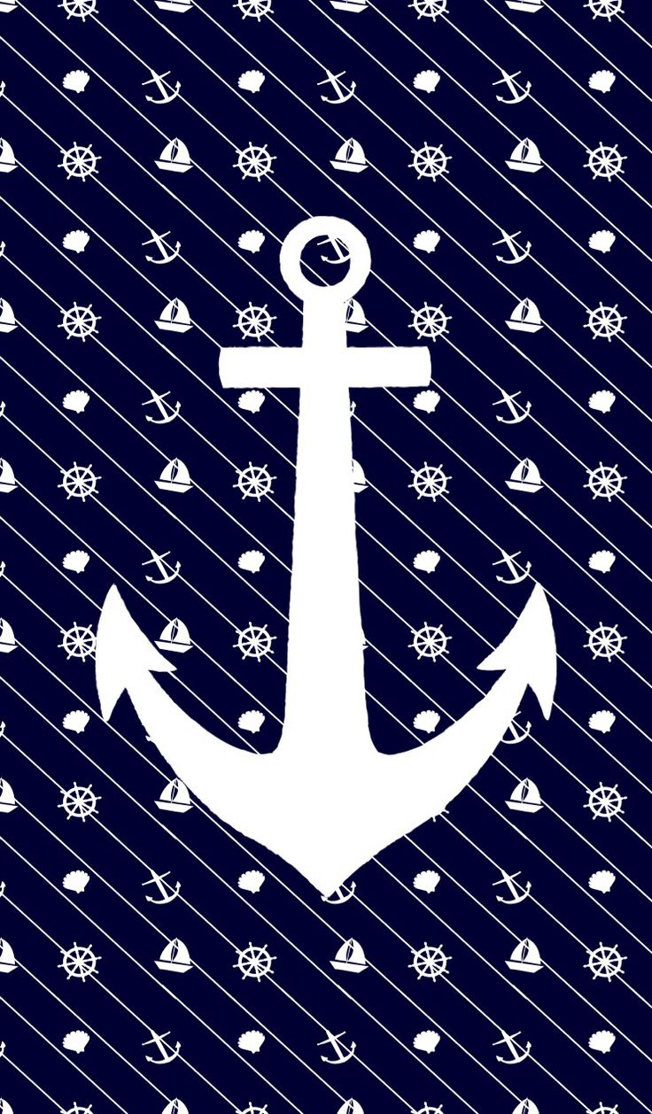 White anchor on navy