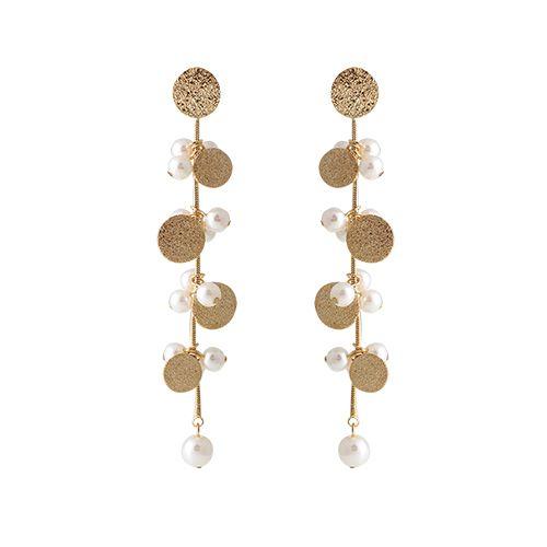 Gold Plate With Pearl Cluster Earrings / 골드 플레이트 위드 펄 클러스터 귀걸이
