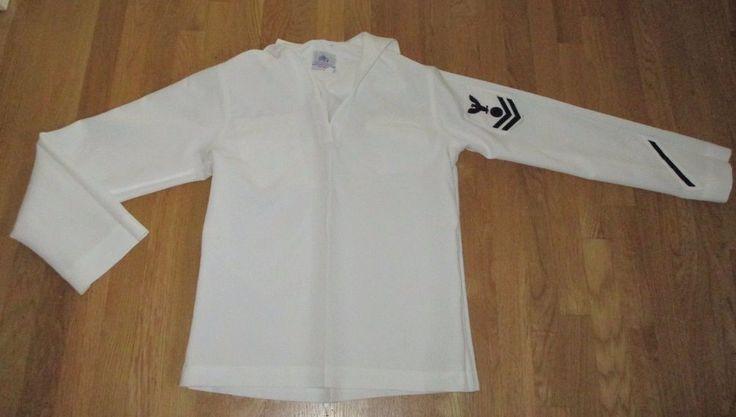 MENS US NAVY DSCP WHITE MILITARY UNIFORM REGULATION DRESS SHIRT JUMPER TOP 42