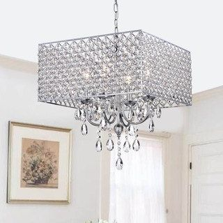 office: Shop for Chrome/ Crystal 4-light Square Chandelier. Get free shipping at Overstock.com - Your Online Home Decor Outlet Store! Get 5% in rewards with Club O! - 12645623