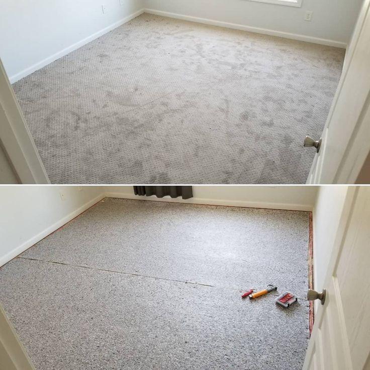 New carpet installed! Light gray berber carpet.