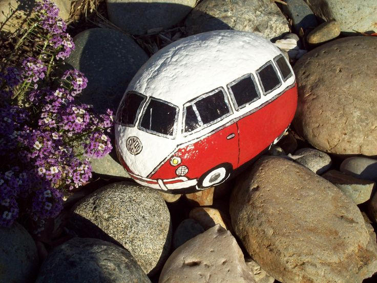 Red/White VW Volkswagen Bus painted rock