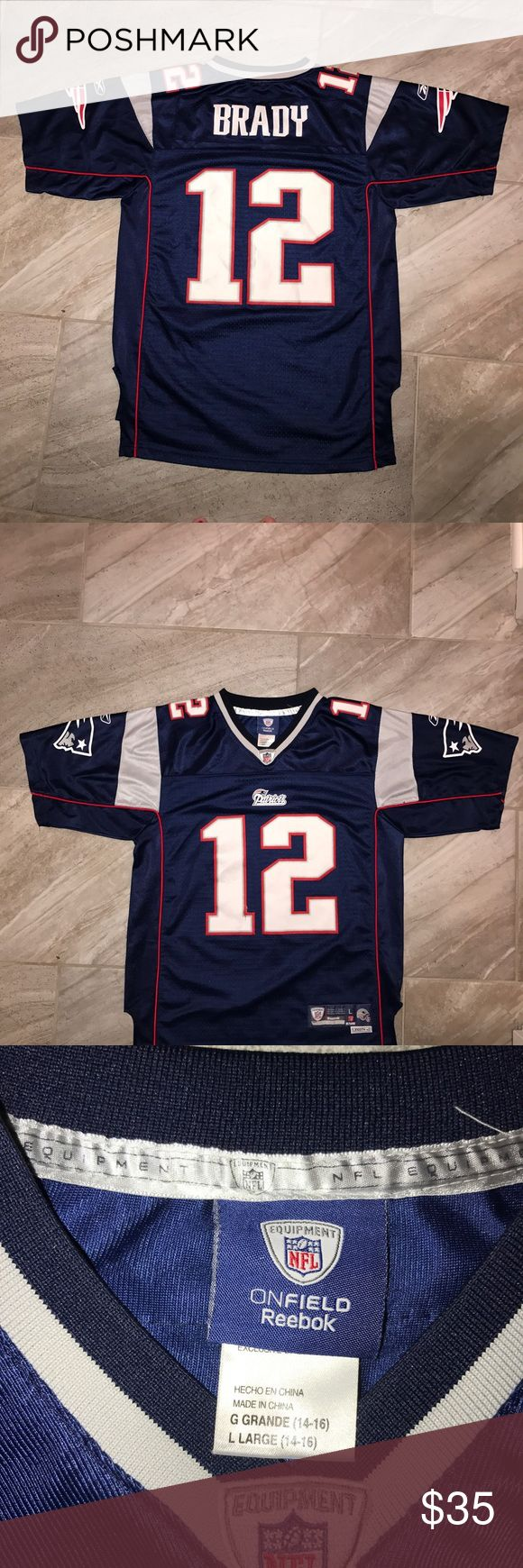 TOM BRADY JERSEY New England Patriots Jersey  fits a women's Small Actual sz is YOUTH Large. Good condition. Reebok Shirts & Tops Tees - Short Sleeve