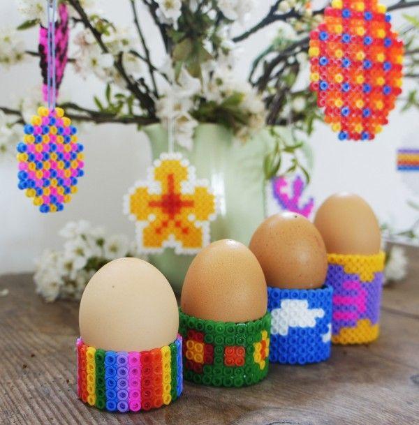 DIY Eierbecher aus Bügelperlen basteln