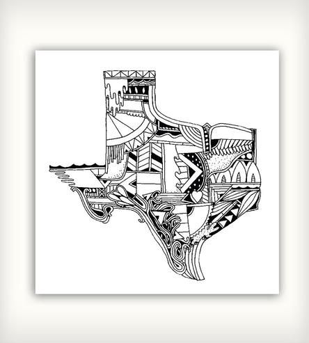 Texas Print by Sophie Roach on Scoutmob Shoppe...I would love this as my Texas tattoo!