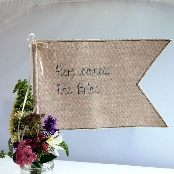 Here Comes The Bride Wedding Flag by poshyarns on Etsy