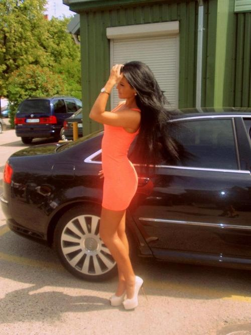 Lock and LoadDark Hair, Summer Outfit, Style, Cars, Bach Parties, Nude Heels, Neon Dresses, White Heels, The Dresses