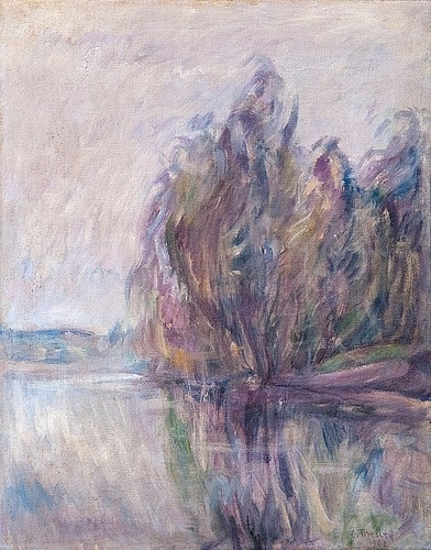 """ELLEN THESLEFF  Reflections (1942). Ellen Thesleff (1869-1954) was one of the small group of late nineteenth century Finnish women painters whom Akseli Gallen-Kallela, a famous Finnish painter of the same era called """"mamselles who dabble with paints.""""  She is all about color."""