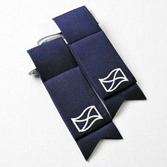 Matching navy flashes with embroidered Saltire flag. Part of the saltire Collection