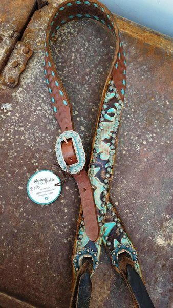 Belt headstall turquoise tan with turquoise buckstitching