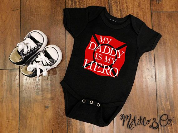 My Daddy is my Hero Firefighter Fireman Thin Red Line Baby Boy
