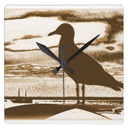 Seagull at Dusk by the Sea Shore Wallclock
