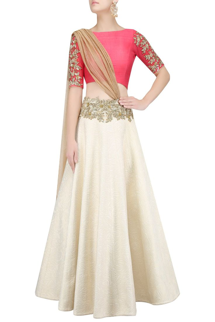 Off white quilted floral work lehenga with red blouse and attached dupatta available only at Pernia's Pop Up Shop.