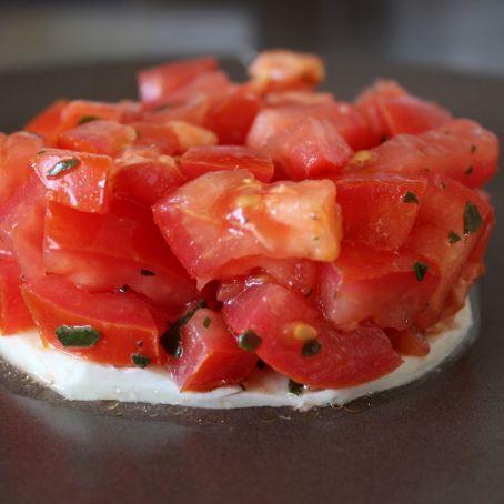 Tomato Basil Tartare on a Bed of Mozzarella