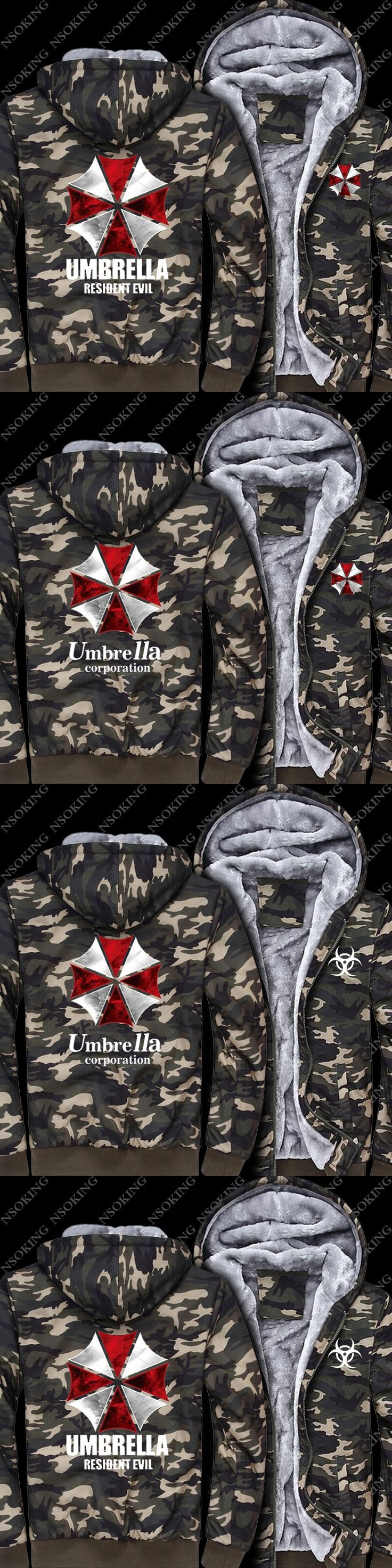 Casual Man Umbrella Cosplay Army Camouflage Coat Jacket Resident Evil Hoodie Winter Men Warm Sweatshirts