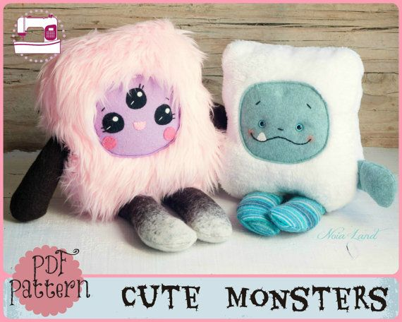 PDF pattern. Cute monsters. Plush Doll Pattern Softie by Noialand. {Pinned by @weememories}