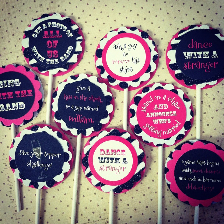 Set of 12 Bachelorette Party Cupcake Toppers - Choose Your Design and Colors. $12.00, via Etsy.