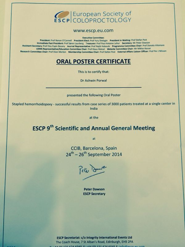 Dr. Ashwin Porwal's paper got selected for The European Society of ColoProctology (ESCP) conducted its 9th Scientific & Annual General Meeting at Barcelona, Spain, the only Indian whose paper was selected. http://www.freepressreleases.com/punes-healing-hands-clinic-creates-identity-globally/1087787