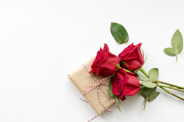 Composition Of Gift And Bouquet Of Red Roses On White Background Red Roses Gifts White Background