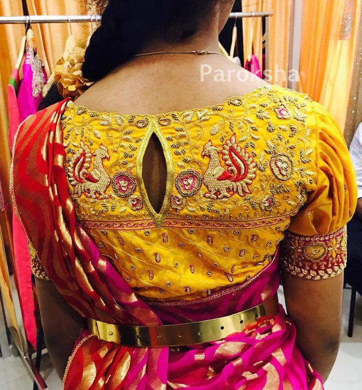 Beautiful peacock embroidery designed blouse from Paroksha designhouse. 10 April 2017