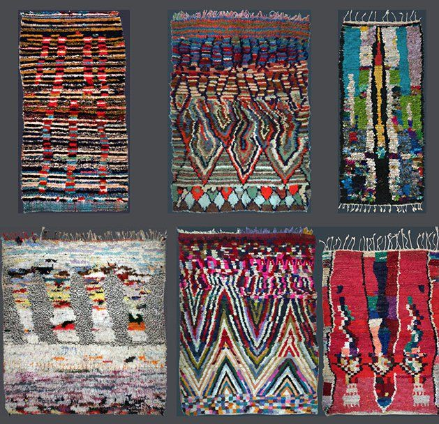 """Berber-Arts has a nice little collection of images of Moroccan rag rugs, called boucherouite - from the Moroccan Arabic bu sherwit, """"a piece torn from pre-"""