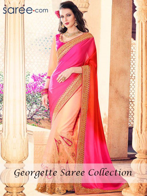 PINK AND PEACH GEORGETTE SAREE WITH EMBROIDERY WORK