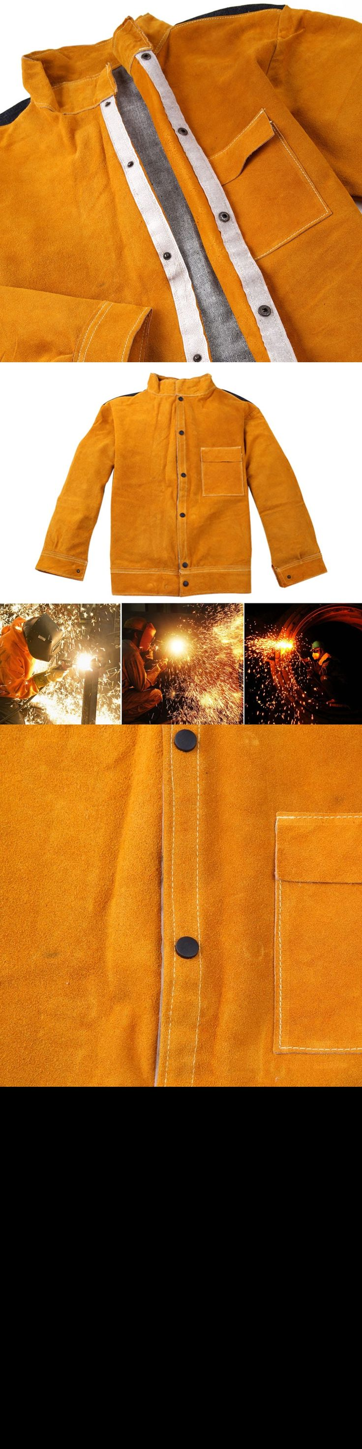 Welder Jacket Cow Leather Apron Protective Coat Long Sleeves Welding Clothing Welders Workplace Safety Apparel L-4XL FS9