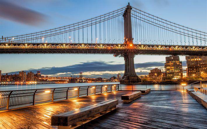 Herunterladen hintergrundbild new york -, abend -, manhattan-brücke, city lights, usa