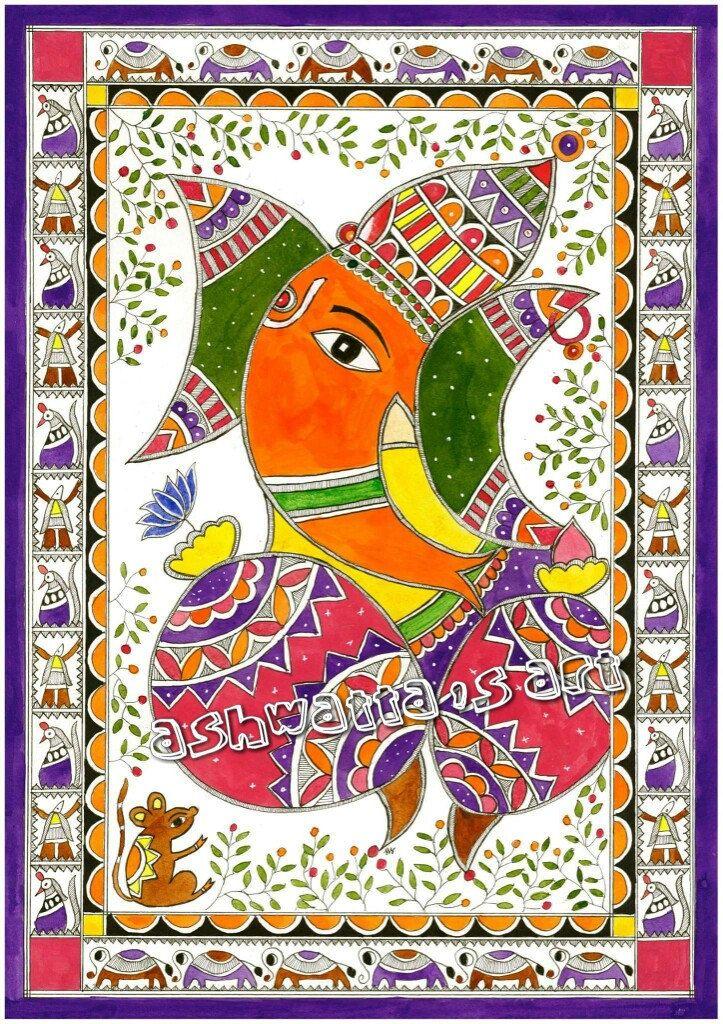 Lord ganesha Hindu Painting, Art print, Madhubani Acrylic painting, Intricate…