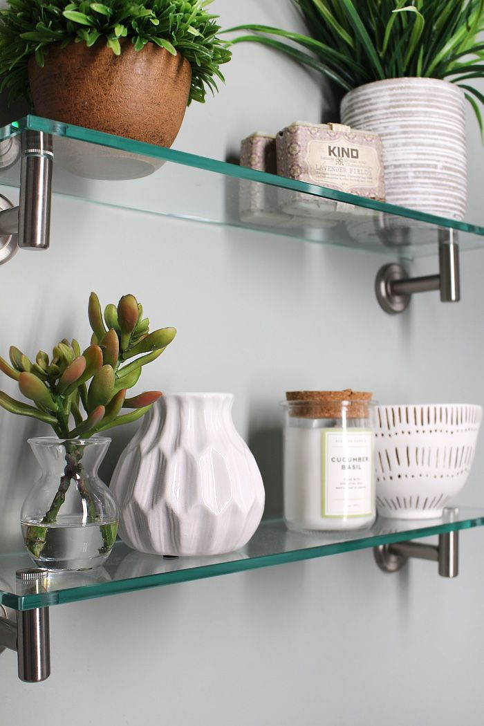 Powder Room Makeover - glass shelves