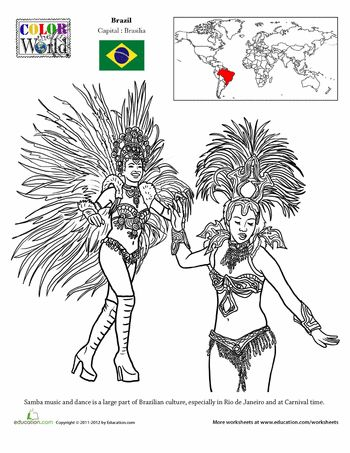 Worksheets: Brazil Coloring Page
